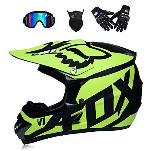 LTongx Motos Motocross Cascos y Guantes y Gafas estándar para niños ATV Quad Bicicleta go Casco de Kart,A,XL(58~59cm)