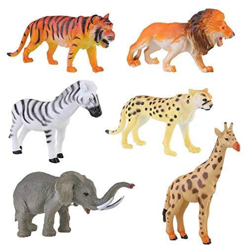 Felly Animali Giocattolo, 6 Pezzi Mini Figure Animale in Plastica Foresta Giungla Animali Selvatici Tiger Leopard Leone Giraffa Zebra Elephant Giocattolo Riempire Borse Regalo per Ragazzi Bambini
