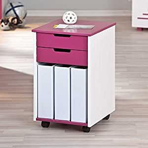 pharao24 kinder rollcontainer liliano in pink wei k che haushalt. Black Bedroom Furniture Sets. Home Design Ideas