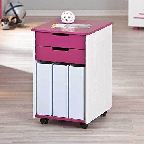 Pharao24 Kinder-Rollcontainer Liliano in Pink-Weiß