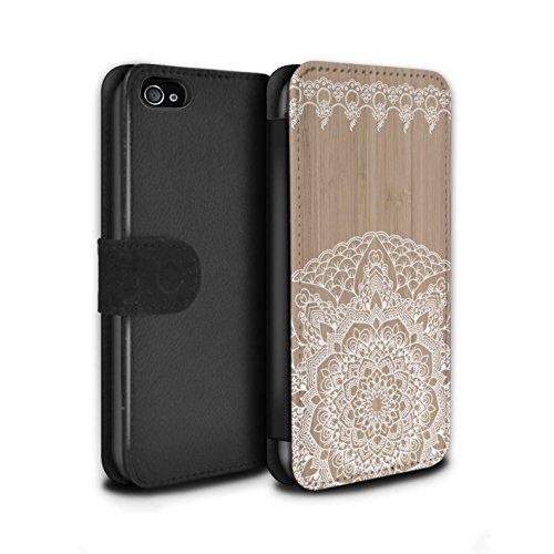 STUFF4 PU-Leder Hülle/Case/Tasche/Cover für Apple iPhone 7 / Mandala Muster / Fein Spitzenborte Holz Kollektion Bambus