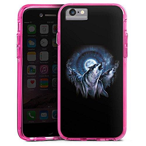 Apple iPhone 6 Bumper Hülle Bumper Case Glitzer Hülle Nacht Mond Moon Bumper Case transparent pink