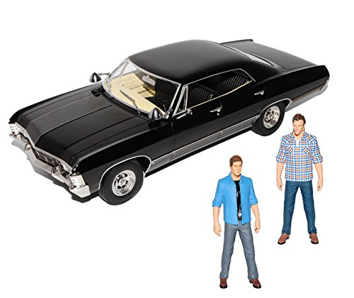Greenlight Chevrolet Impala Sport Sedan mit 2 Figuren 1967 Limousine Schwarz Supernatural 1965-1970 1/18 Modell Auto - Impala Modell Auto Chevy