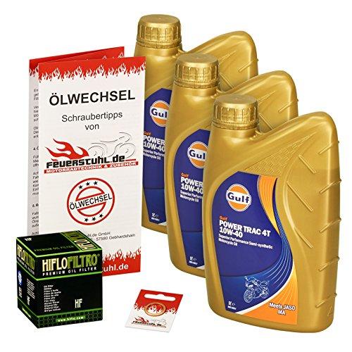 Ölwechselset Gulf Power Trak 10W-40 Öl + HiFlo Ölfilter für Suzuki VZ 800 Marauder, Bj. 97-03 (Typ AF); Motoröl + Filter + Dichtring (03 Öl)