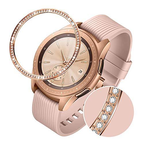 TRUMiRR Lünettenring Kompatibel mit Samsung Galaxy Watch 42mm, Frauen Rose Gold Edelstahl & Strass Diamond Klebstoff Abdeckung Anti Kratzschutz Metallgehäuse