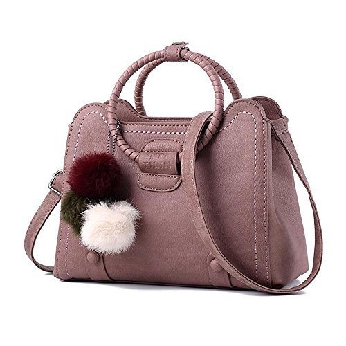 Toopot Sacchetto di spalla di cuoio della borsa di cuoio di Pu Può semplice semplice delle donne RUBBER PINK