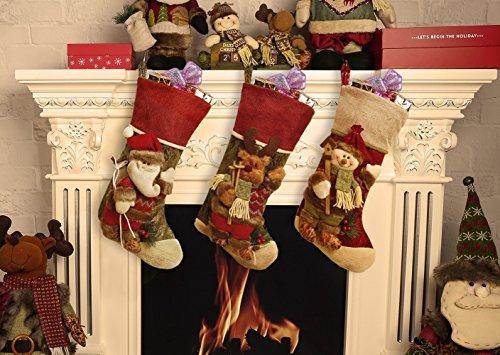 Calze di natale, decorazioni, borsa regalo di natale con personaggio in 3d, peluche in lino, etichette a forma di babbo natale, calze con pupazzo di neve e renne, 44,5cm, santa claus, snowman and reindeer, confezione da 3