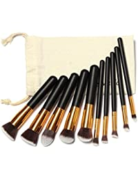 Lookatool 10 Pcs Professional Makeup Brushes Set Makeup Brushes Kit Draw String Makeup Bag (Gold)