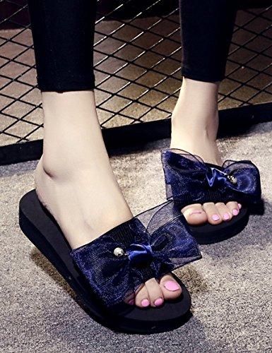 Estate Sandali Pantofole di moda indossando Fiocco estivo femminile con una traccia di parole Piste femminili con pantofole in spiaggia Pantofole fresche casual antiscivolo Colore / formato facoltativ A