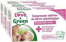 Amor y verde Conjunto de 20 o comprimir salina fisiológica estéril - juego de 3