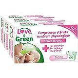 Love & Green - Set de 20 Compresse Stérile au Sérum Physiologique - Lot de 3