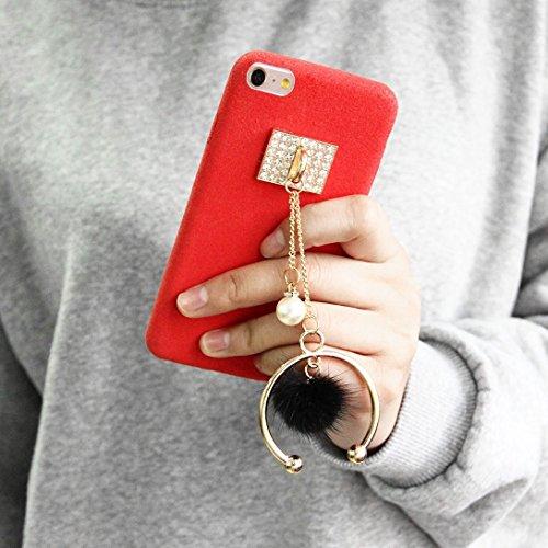 Phone case & Hülle Für iPhone 6 Plus / 6s Plus, Diamond Pearl Half-Ring Tassel Anhänger Plüsch Stoff PU Leder Schutzhülle ( Color : Red ) Red