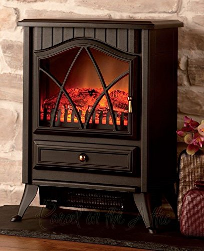 NEW Wood Burner Log Effect Electric Fire Free Standing Portable Stove in Black