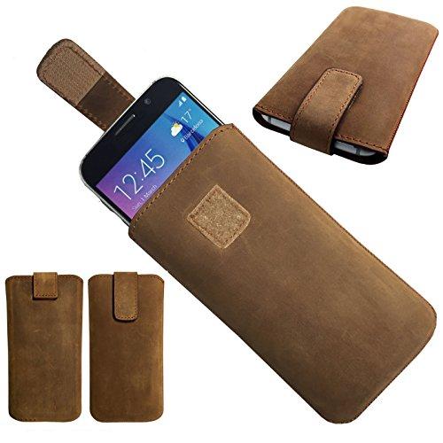 1A ECHT LEDER BRAUN Slim Cover Case Schutz Hülle Etui Tasche für MobiWire Winona