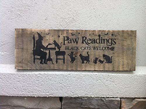 Monsety Halloweenschild mit Pfotenabmessungen, schwarzes Katzen-Schild, Halloween-Dekoration, Paletten-Upcycled Zitat, Dekoschild aus Holz