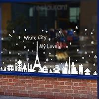 Tuopuda® Pegatina Navidad para Ventana Escaparate Comercio Pueblo Nevado Navidad la Decoración del Hogar de vinilo Ventana Pegatinas de pared Decorativos (blanco)