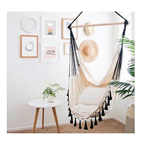 QJJML hamac Fauteuil Suspendu Blanc,hamac Chaise pivotante, siège de balançoire extérieur, Coutures Noir Nordique avec hamac Romantique en Dentelle à Franges