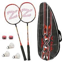 Philonext 2 Pack Badminton Rackets met 3 Shuttlecocks & Draagtas & 2 Overgrip, Sport Koolstofvezel Lichtgewicht Badminton Racquet voor Professionele & Beginner Spelers