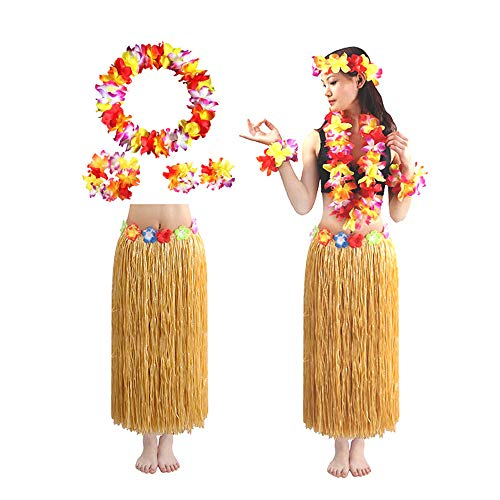 MENGZHEN Hawaii Hula Grass Rock mit Blumen Kostüm Set, Hawaii Kleid Hula Grass Rock Ti Leaf Hula Rock mit Hibiskusblüte Leis
