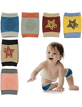 HBselect 6 Paar Baby Knieschoner Krabbelschoner mit Gummipunkte anti-Rutsch Knieschützer für Junge und Mädchen...