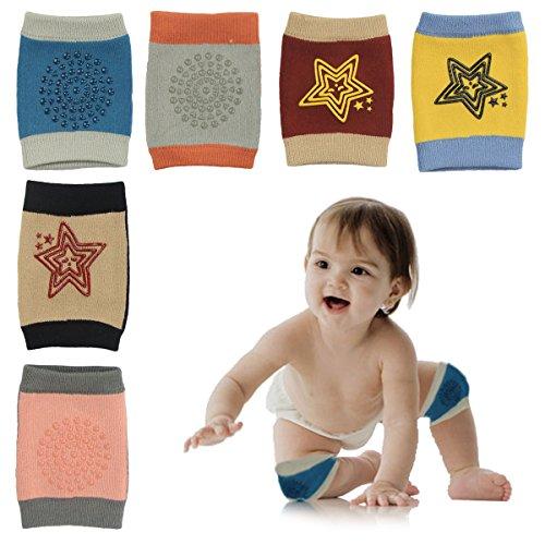 HBselect 6 Paar Baby Knieschoner Krabbelschoner mit Gummipunkte anti-Rutsch Knieschützer für Junge und Mädchen 0-2 Jahre - Hose Knieschoner