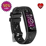 Fitness-Tracker, mit neuen Sport Watch wasserdichte Fitness-Uhr Armband mit Pulsmesser Schrittzähler Farbe OLED Touchscreen für iPhone Samsung IOS Android Smartphones (4 Stile von Themen)
