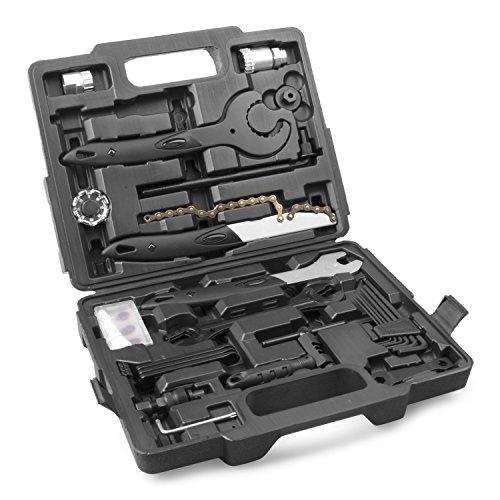 Fahrrad Werkzeugkoffer in schwarz | Fahrrad Werkzeug Set | Fahrradwerkzeug mit Kunststoffkoffer für Fahrrad-Montagearbeiten und Reparaturen | Fahrrad Werkzeugsatz mit 26 teilen | by Provelo