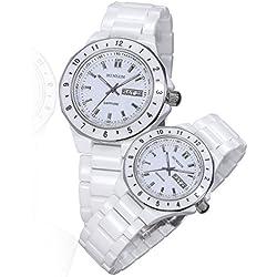 binlun HIS und HERS Fashion Trend weiß Keramik Best Geschenk Quarz Armbanduhr für Mann und Frau