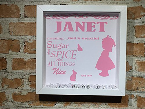 Personalised meaning of name print framed gift new baby keepsake 9 personalised meaning of name print framed gift new baby keepsake 9 x 9 inch large amazon kitchen home negle Image collections