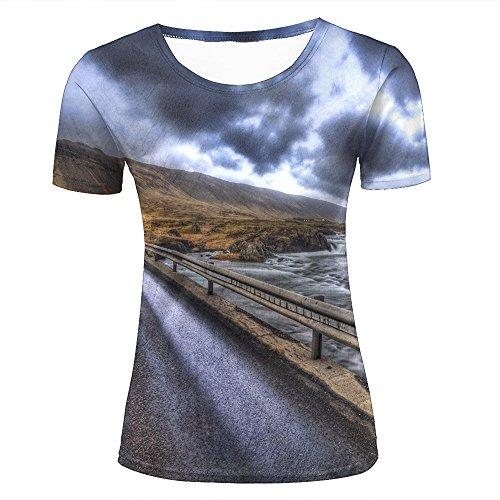 WEIYI BO Damen 3D Printed Casual Summer Tees Shirts Barren Hills - Retro Style Graphic Crewneck Short Sleeve T-Shirts S