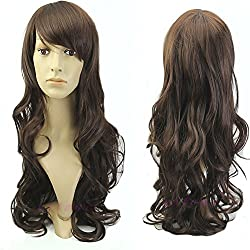 Artifice Oblique Bang Curly/Wavy 24'' Wig Hair Extension Clip With Wig Cap Dark Brown