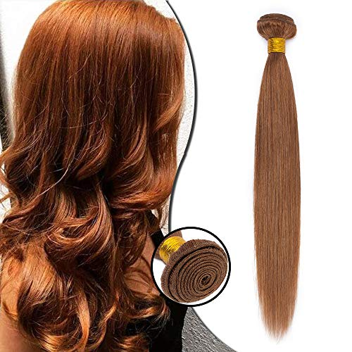 Extension matassa capelli veri tessitura naturali 1 bundle lisci straight 40cm 100g unprocessed brazilian human hair #30 castano ramato chiaro