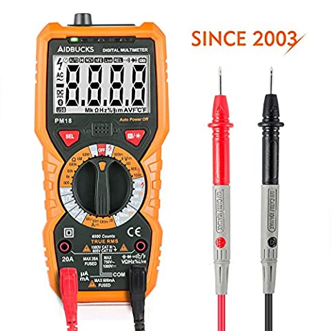 Multimeter Janisa PM18 Digital AC DC Voltage Current Resistance Tester True RMS 6000 Counts Non Contact Voltage Test Electrical Amp Ohm Volt Multi Tester Voltmeter Ammeter Ohmmeter with LCD Backlit for Electrical Appliance , Vehicle and Power Line Inspection & Repair