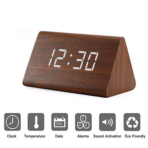 Modern Triangle Holz LED Holz Alarm Digital Tischuhr mit Datum und Temperatur Sound Control Schreibtisch Wecker für Kinder Schlafzimmer, Haus, - Nicht Zu Wecker Hell