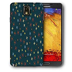Snoogg Orange Blue Pattern Printed Protective Phone Back Case Cover For Samsung Galaxy NOTE 3 / Note III