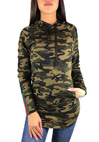 Worldclassca Damen Camouflage Sweatshirt TARN Kapuzen MIT SEITLICHEN Streifen Army T-Shirt LEICHTE Sommer Hoodie Langarmshirt Oberteil Pulli Fitness Blogger S-L (S, Camouflage)