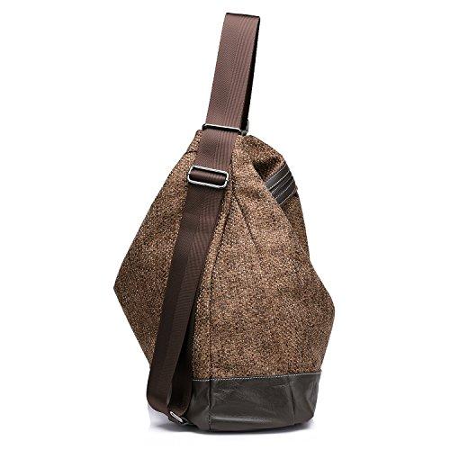 Realer Donne Woven Grande Top borsa zaino Borsa in cotone della borsa della spalla Marrone