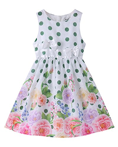 Kidsform Girls Summer Dress Toddler Cotton Sleeveless Floral Print Bowknot Casual Sundress 1-8Years