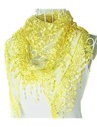 453795094 HugeStore Women Ladies Elegant Lace Tassel Blending Silk Long Scarf Scarves  Wrap Shawl Triangular Scarf Yellow