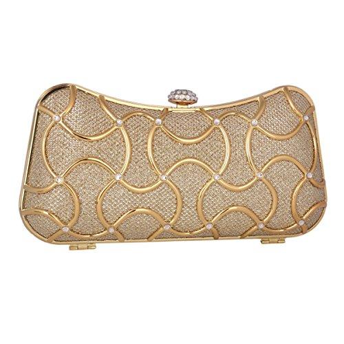 Adoptfade Abendtasche Damen Clutch Tasche Metall, Gold