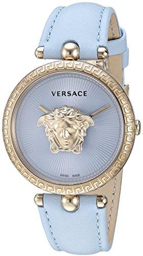Versace VECQ00918 - Reloj de Cuarzo para Mujer, Acero Inoxidable y Cuero, Color Azul