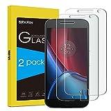 [Pack de 2] Moto G4Plus Protector de pantalla, sparin [vidrio templado] [sin burbujas] [Dureza de 9H] [resistente a arañazos] Protector de pantalla para moto G4Plus, [garantía de por vida]