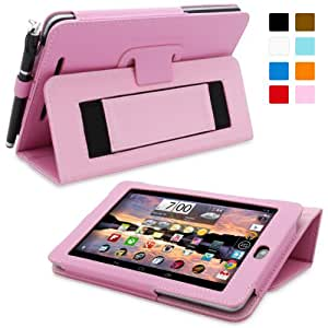 Nexus 7.2 Case, Snugg - Candy Pink Leather Smart Case Cover [Lifetime Guarantee] Google Nexus 7.2 Protective Flip Stand Cover with Auto Wake / Sleep