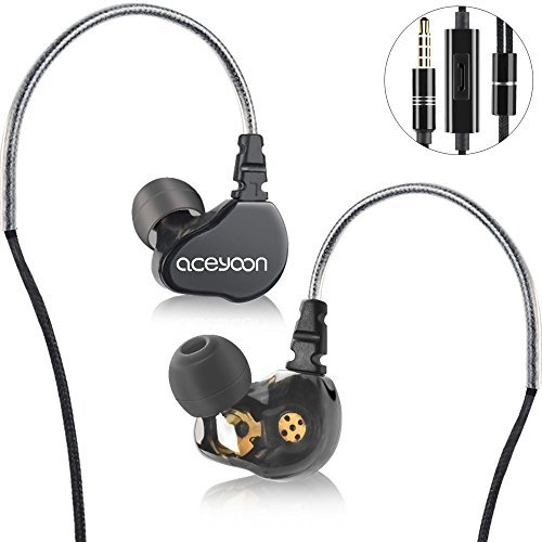 aceyoon In Ear Monitoring extra Bass Mikrofon In-Ear Kopfhörer Bügel dual Dynamic 2 in Earphone HiFi Headset Ohrhörer für iPhone Samsung Android Smartphone