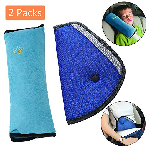 Car Seat Belt Kids Safety Seatbelt Strap Soft Shoulder Pad Cover Head Neck Support With Seatbelt Clip for Children More Comfort on The Journey (Blue)