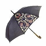MARY SAM'S Umbrella Fashionlabel - Regenschirm Stockschirm Holzgriff groß - Modell Tragedy and Spectacle - Schwarz Grau Gold - Vintage Muster klassisch