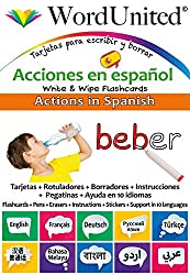 Actions in Spanish - Write & Wipe Flashcards with Multilingual Support (European Spanish)