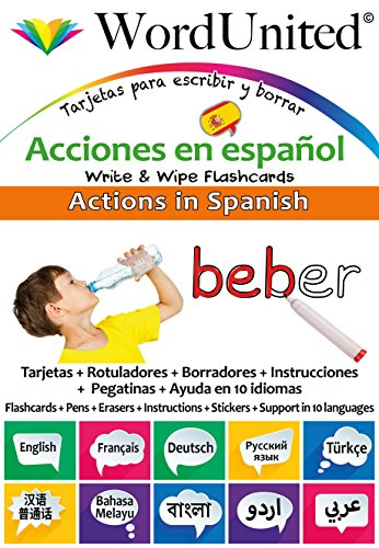 Actions in Spanish: Write & Wipe Flashcards