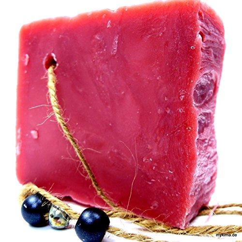 Handgemachte, kaltgerührte Schafmilchseife Erdbeere 150gr | Naturseife liebevoll verpackt im Leinensackerl!