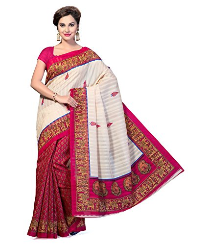 Venu Women Wedding Bhagalpuri Art Cotton Silk Printed Saree For Ladies & Girls (Fancy Bolly Party Wear Silk Checks Saree)  available at amazon for Rs.190